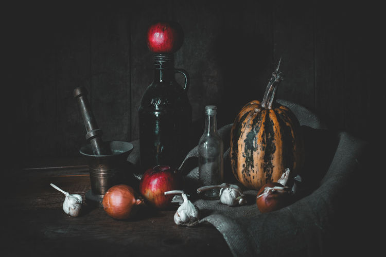 Still life Fruit Food Food And Drink Indoors  Healthy Eating Still Life No People Freshness Red Wellbeing Black Background Apple - Fruit Table Container Vegetable Close-up Studio Shot Choice Spice Bottle My Best Photo
