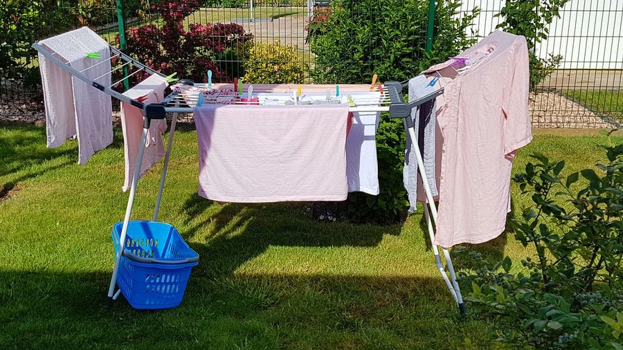 Real life😉 Drying Laundry Clothesline Chores Outdoors Hanging No People Hygiene Cleaning Washing Day Clothing Shadow Grass Cleaning Equipment Bright Pink Colour