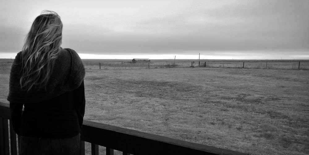 Rear View One Person Women Long Hair Looking At View Outdoors Standing Adult Hair Sky Ranch Farm Colorado Cloud - Sky Rural Scene Blackandwhite Black And White Monochome Woman Contemplation Sadness Lonely Emotion Longing