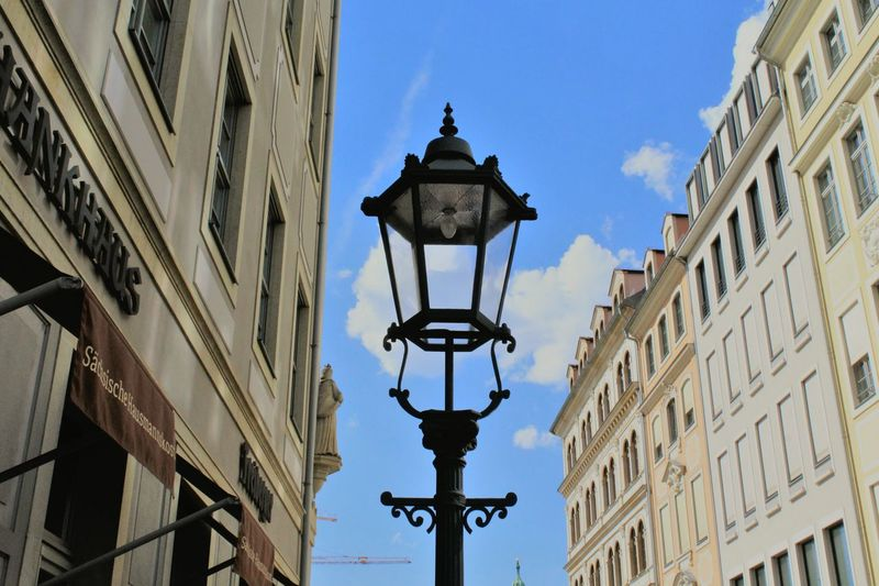 Latern Old Buildings Focus EyeEm Gallery Places Sunlight Sunshine Specialshots Atmosphere Oldtown Dresden Bluesky Sightseing Light Laterne Building Outside Clouds And Sky Blue Background