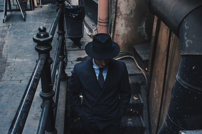 High angle view of man on steps