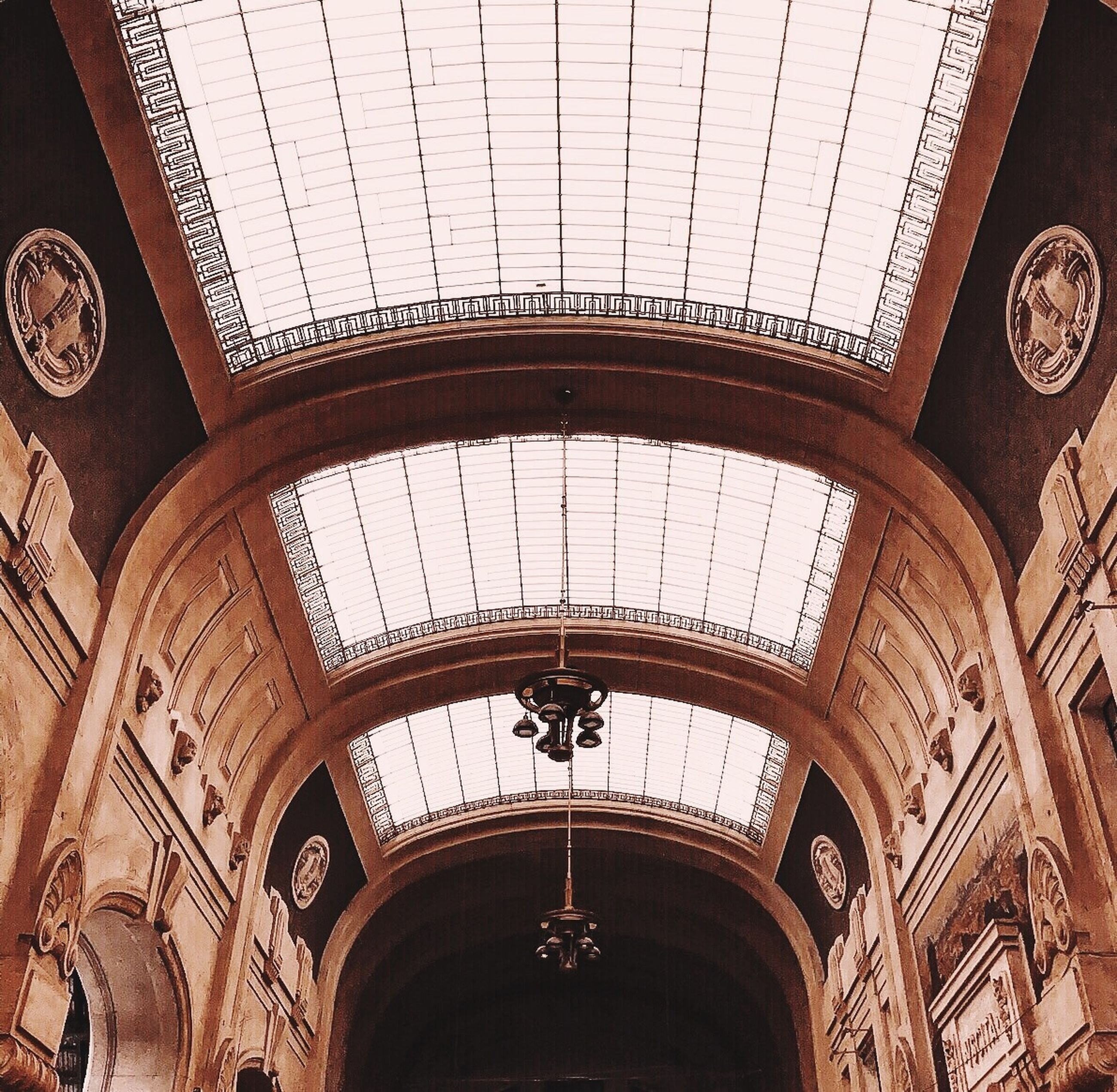 architecture, ceiling, indoors, built structure, ornate, low angle view, no people, day, courtroom