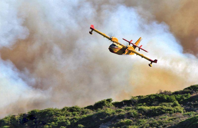Firefighter Plane Against Smoke