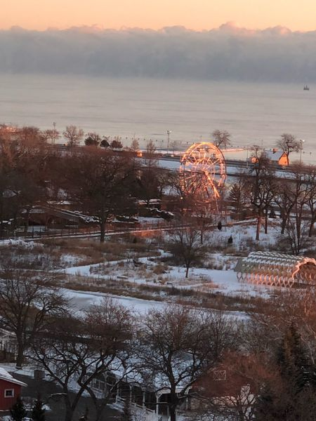 Ferris wheel on Lake Michigan Ferris Wheel Beauty In Nature Winter Tranquility Outdoors Snow Lake