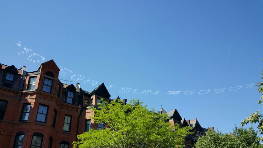 Sky Writing viewed; Newbury Street Boston Go Sox Game Day In The City No People S6 Blue Skies & Brownstones Boston, Ma Usa EyeEm Best Shots