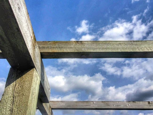 Architecture Built Structure Cloud - Sky Sky Blue Outdoors No People Wood Beauty Clear Sky Clear Sunny Day Woodbeam Wood Art Wooden Fence