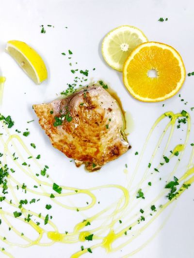 Sword fish Lemon Food And Drink Food Healthy Eating Plate Ready-to-eat Freshness Citrus Fruit Serving Size Indoors  No People Close-up Day Fish Swordfish Chef Gourmet Wanderlust