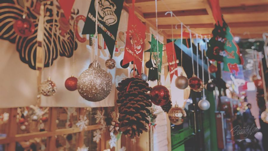 Low angle view of christmas decorations