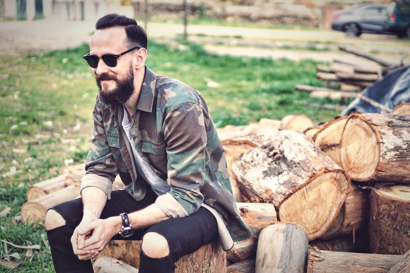 Sitting One Person Beard Lifestyles Young Adult Sunglasses One Man Only Outdoors Nature Men Portrait Adult Adults Only People Day Only Men