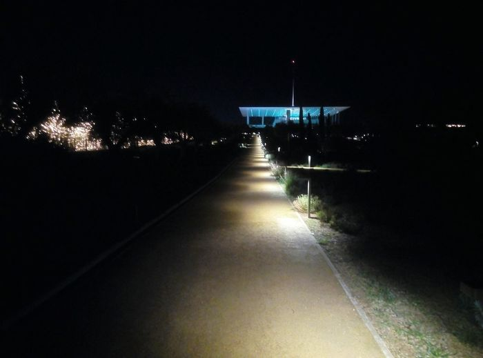 Christmas in Stavros Niarchos Foundation Athens Chistmas Light Moody Sky Tree Bench Park Niarchosfundation Stavros Niarchos Foundation Cultural Center Lights Roadsidephotography Star Strolling Stroll Dirt Road Lightpath Nature Holidays Water