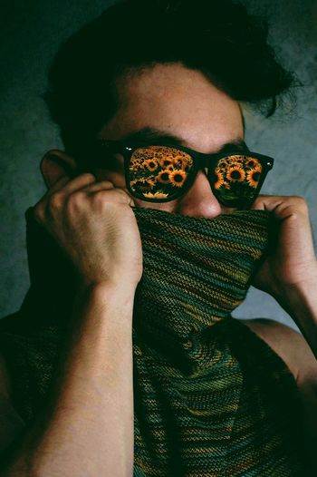 Art Sunflower Scarf Clothing Indoors  Indoors  Portrait One Person Man Self Portrait Model Glasses Creative Portrait