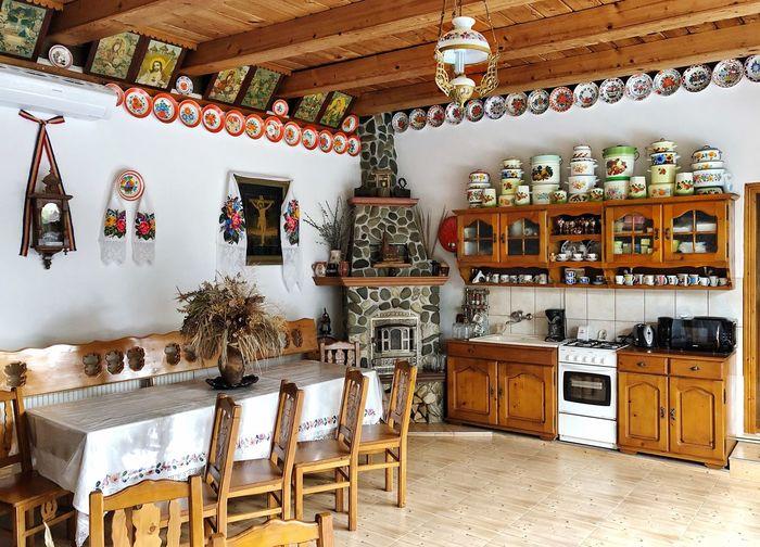 Romania Kitchen Indoors  Seat No People Arrangement Chair Architecture Built Structure Decoration Table