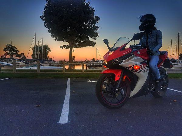 Motorcycle Headwear Road Sky Biker