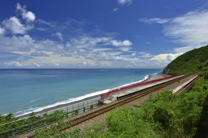 Taiwan's eastern coastline scenic area, is a station Taitung station is the coastline of the most beautiful scenery of a small train station. Holiday More Station White Clouds Beach Beautiful Coast Beauty In Nature Blue Sky Cloud - Sky Day Horizon Over Water Journey Nature Nautical Vessel No People Outdoors Railway Scenics Sea Sky Train Station Tranquil Scene Tranquility Transportation Tree Water