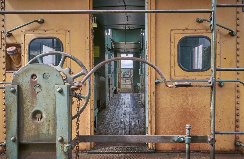 Rusty train in factory