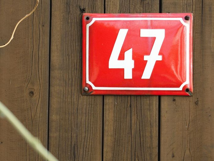 47 Sign Wood Close-up Day Metal Metal Sign No People Number Old Red Wood - Material Worn Out