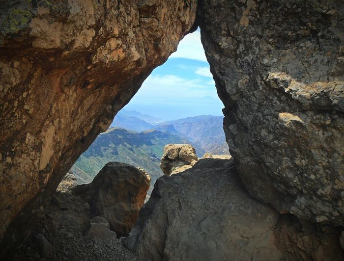 From the recent Canarias trip... Looking To The Other Side Mountains Rocks Natural Window Volcanic  Gran Canaria Roque Nublo Montagne En Las Montañas