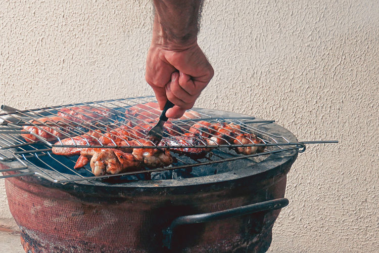 Barbecue day! Adult Adults Only Close-up Day Food Food And Drink Freshness High Angle View Holding Human Body Part Human Hand Men One Man Only One Person Only Men Outdoors People Real People