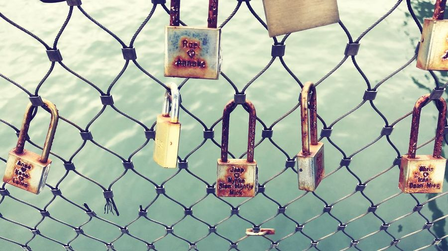 Vintage love seal Vintage Love Sealed Love Bridge Over Water Love Metal Protection Safety Padlock Security No People EyeEmNewHere