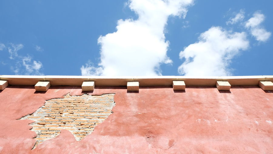 Sky Cloud - Sky Blue Nature Day Sunlight Outdoors Architecture Built Structure Wall - Building Feature Beauty In Nature Tranquil Scene Travel Low Angle View No People Brick Block Exterior Tranquility Scenics - Nature Old Old Days Vintage Retro Retrospect