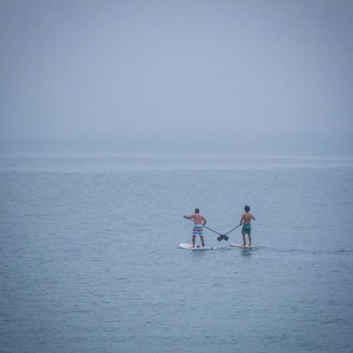 People Paddleboarding In Sea Against Clear Sky