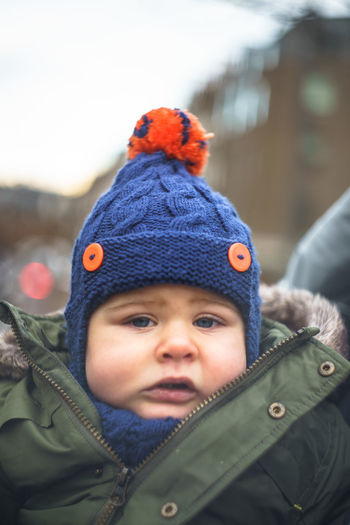 Babies Only Baby Babyhood Childhood Close-up Cute Day Focus On Foreground Headshot Innocence Knit Hat One Person Outdoors People Portrait Real People Warm Clothing