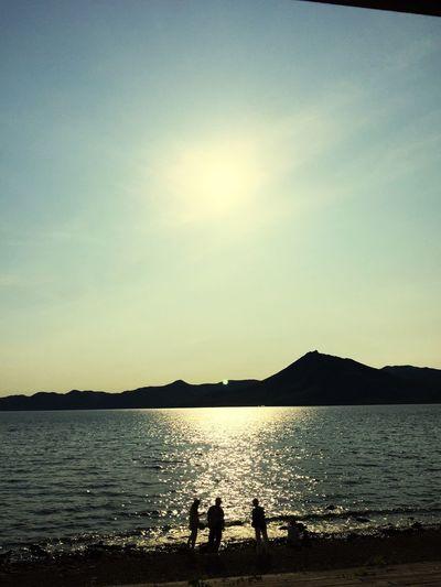 Sunset Lake Lake View Shikotsu Lake Hokkaido Water Reflections Shadows