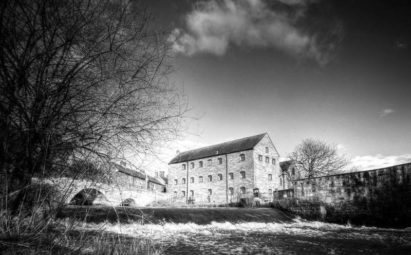 The Old Mill & Weir River Riverside Water Blackandwhite Black And White Rocester Staffordshire Vintage Buildings Rural England