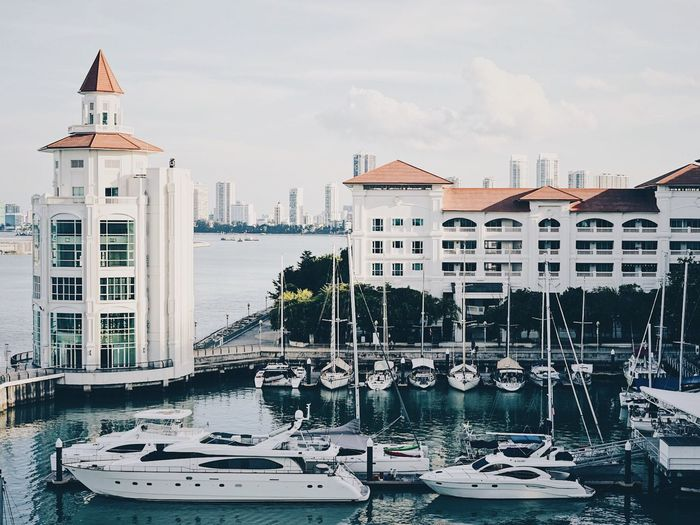 Boats moored at harbor against buildings in city