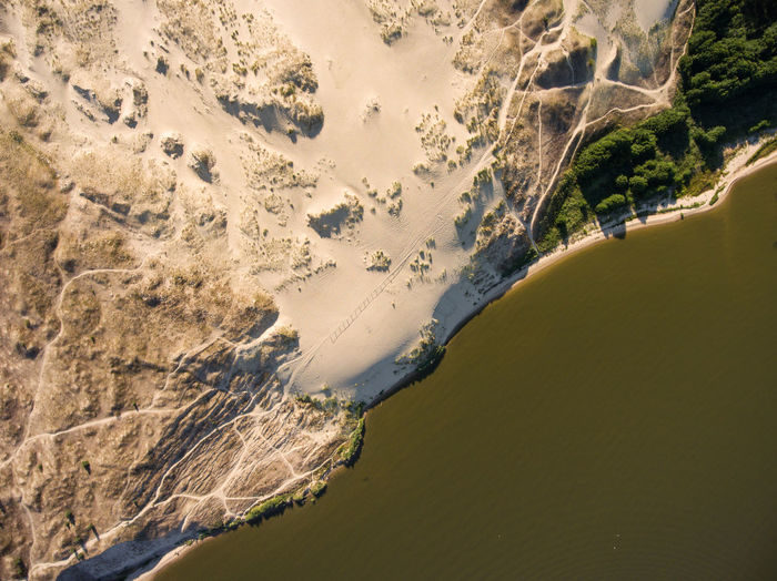 Curonian spit Curonian Spit Lithuania Nida Sand Dune Sand National Park Nature Reserve UNESCO World Heritage Site Curonian Lagoon Aerial View No People Lagoon Aerial Drone  Unesco Baltic Sea Seaside Seascape Beauty In Nature Environment Coastline Beach Land Summer Above