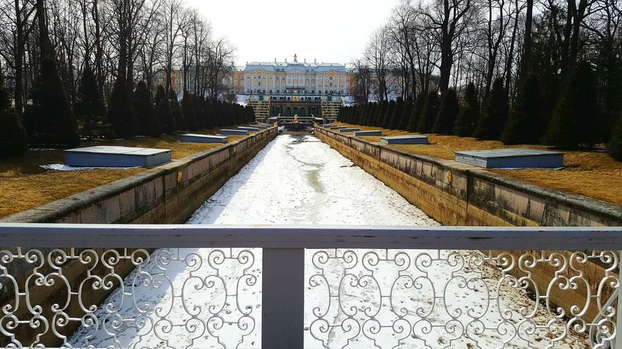 Frozen Water Frozen Tree Outdoors Chanel Royalty Palace Park Peterhof Petergof Peterhof Palace St. Petersburg, Russia Russia Built Structure Royal No People Travel Architecture Tourism Travel Destinations Cascade Winter