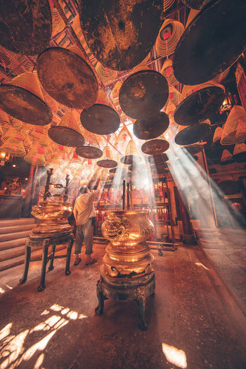 Can't imagine that I was here for waiting 2 hours to see this light beam. However, it is totally worth for a shot when the worker is tidying up the incenses on the ceiling of this famous temple in Hong Kong.