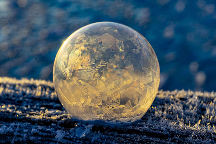 Close-up of ice ball on land