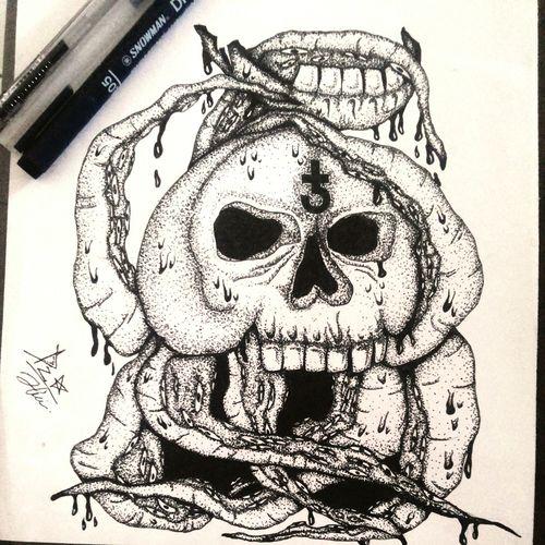 Daily drawing The Week On EyeEm New Account Hi! INDONESIA Drawing ArtWork Drawingpen Inking Skull Skulls