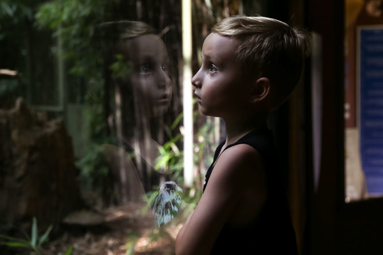 Boy Looking At His Reflection In Glass