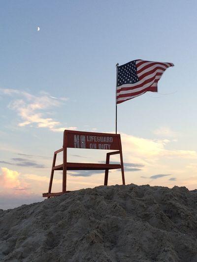 Sunset At Long Beach, NY Half Moon USA FLAG EyeEm Best Shots