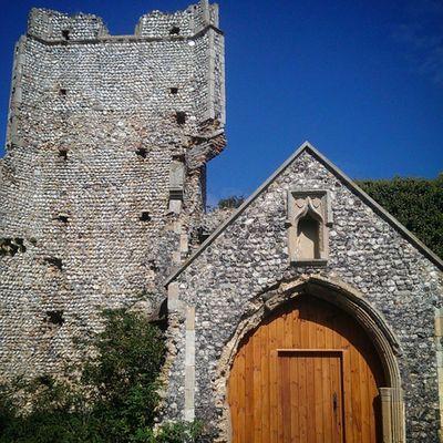Billockby Allsaints Allsaintsbillockby Church ruins churchruins billockbychurch path shadow tower ivy overgrown history Norfolk ruinedtower doorway