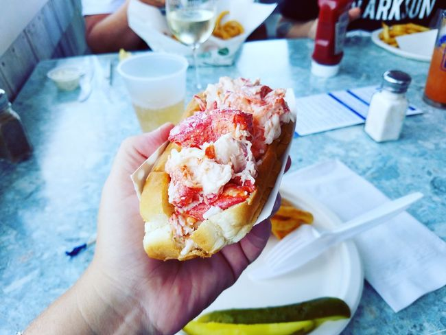 Lobster Roll Seafoods Sandwich Fresh New England  New Hampshire Restaurant Food Delicious Human Hand Holding Close-up Food And Drink Personal Perspective Comfort Food