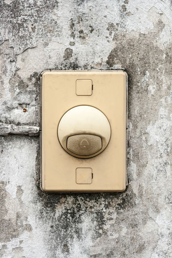 buzzer on the old wall Italy Alarm Buzzer Close-up Day Indoors  No People Switch