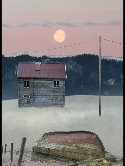 #Winter #moon #full Moon #boat Sky Built Structure Architecture No People Nature Building Exterior Abandoned House Outdoors Old Building