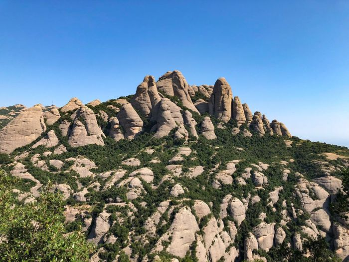 SPAIN Barcelona Montserrat Sky Clear Sky Plant Nature Blue No People Scenics - Nature Beauty In Nature Mountain Rock