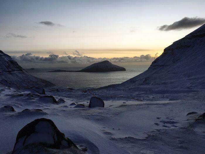 Faroe Islands View Winter Snow Koltur