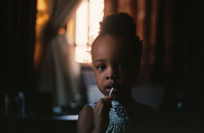 Hey Kim 😘 Film Film Photography TheWeekOnEyeEM Portrait Headshot One Person Child Real People Indoors  Childhood Focus On Foreground Looking At Camera Girls Leisure Activity Front View Lifestyles Females Women Looking Innocence Mouth Open