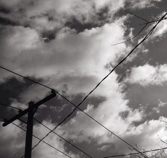 Streetphotography Blackandwhite Cable Low Angle View Sky Cloud - Sky Connection Power Line  Power Supply Electricity  Outdoors