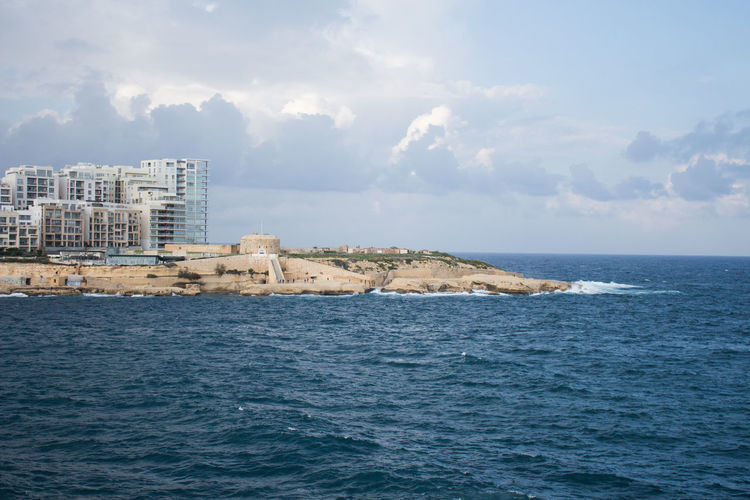 Sea Water Architecture Building Exterior Built Structure Sky Building Waterfront City Scenics - Nature Nature Beauty In Nature Day Horizon Horizon Over Water Cloud - Sky No People Outdoors Land Malta Travel Destinations Sliema Tigne Point