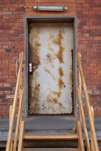 Architecture Brick Wall Building Building Exterior Door Entrance Entry House Makeshift Metal No People Old Rough-and-ready Staircase Steps Weathered