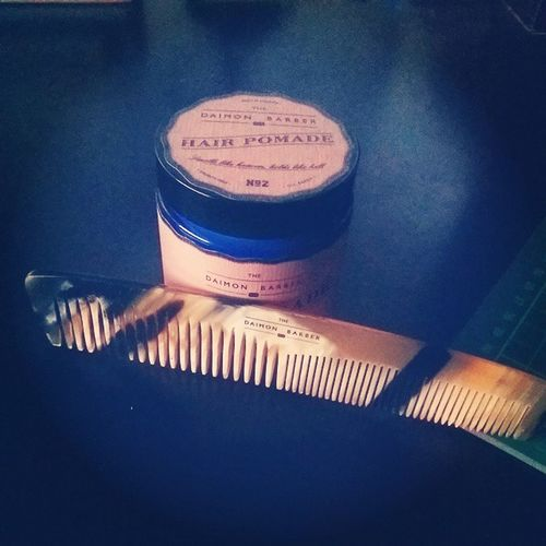 """It arrived ?@thedaimonbarber """"Double Tooth Horn Comb"""" now my hair game will be at its peak ? Thedaimonbarber Comb Double Tooth horn pomade typography"""
