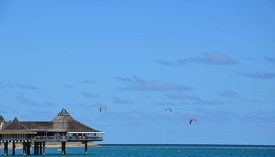 Pile StiltHouse Sea Sea And Sky Blue Sky Blue Blue Sea Beach View Noumea Newcaledonia New Caledonia