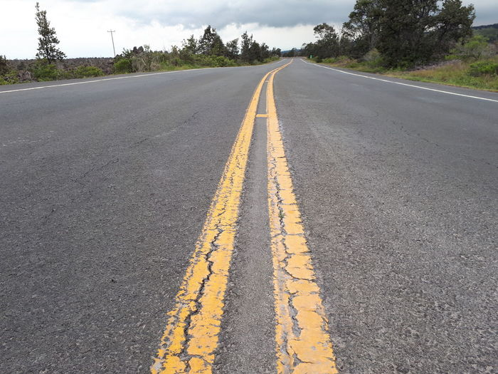 Close-Up Of Double Yellow Line On Empty Road