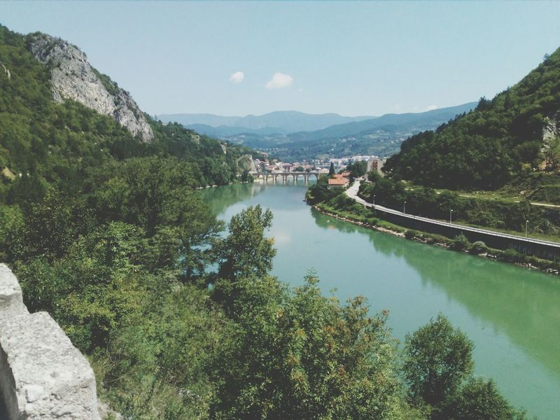 Bridge - Man Made Structure Brigdeovertroutwater Bright Brigde Old Bridge Mexmed Pasa Sokolovic Bridge Tree Mountain High Angle View Sky Architecture Mountain Range Water Vehicle Rocky Mountains Tranquility Tranquil Scene Countryside
